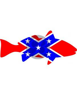 Non-Iridescent Fish Flag - Confederate Decal